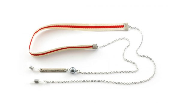 Frank and Lucie brilketting ribbon/metaal Amarena rood/creme