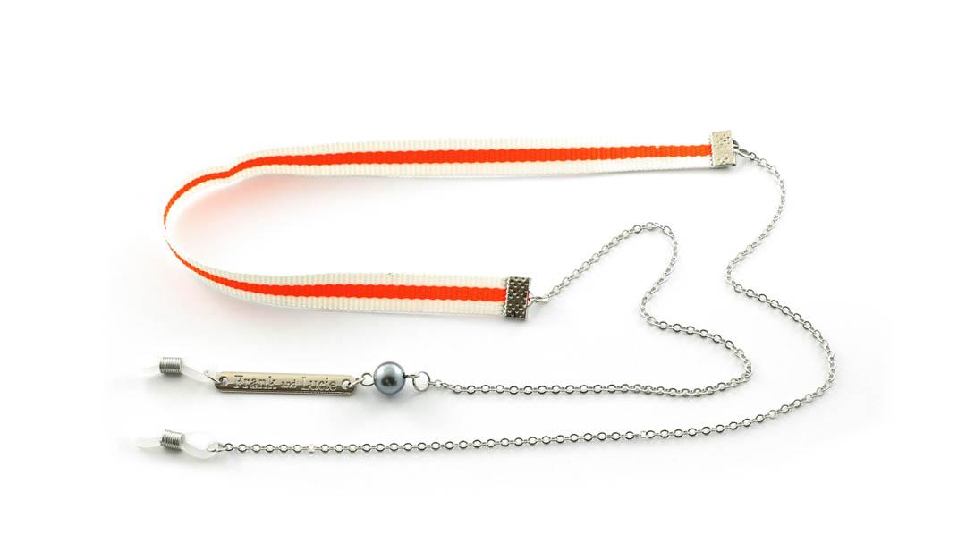Frank and Lucie brilketting ribbon/metaal Spremuta oranje/creme