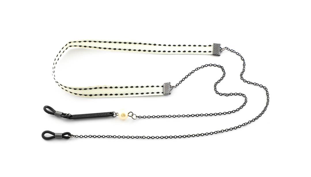 Frank and Lucie brilketting ribbon/metaal Straciatella creme/zwart