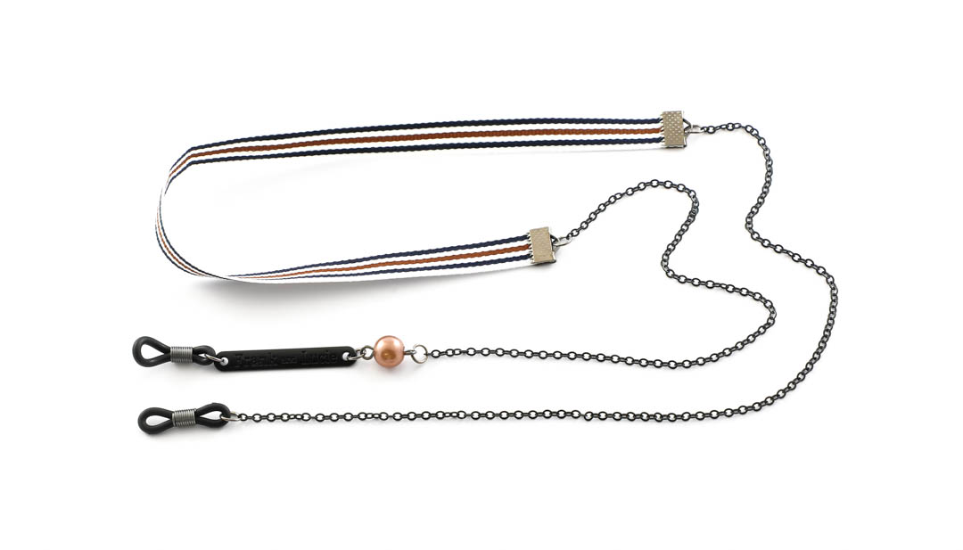 Frank and Lucie brilketting ribbon/metaal Tiramisu bruin/zwart/wit
